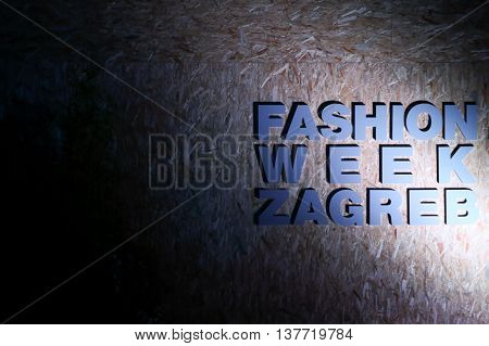 ZAGREB CROATIA - JUNE 3 2016 : Sign of the Fashion Week Zagreb fashion show in the park Green Gold Centre in Zagreb Croatia.