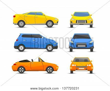 Different car vehicle transport type design sign technology style vector. Generic car different design flat vector illustration isolated on white. Pickup, sedan, bus or truck van and other car vehicle