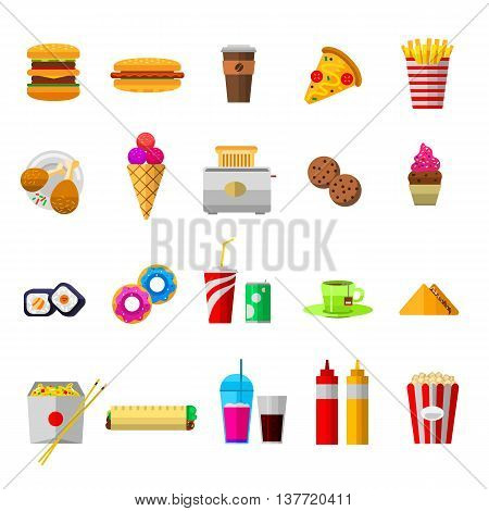 Vector food icons sweet fast food elements. Food icons restaurant bread dinner menu. Cake design food icons kitchen beverage dinner and sweet dessert rolls, croissants. Unhealthy fast food.