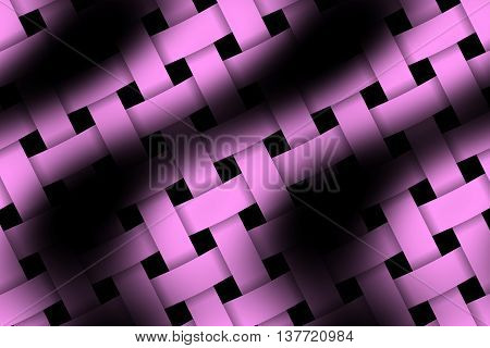 Illustration of pink and black weaved pattern