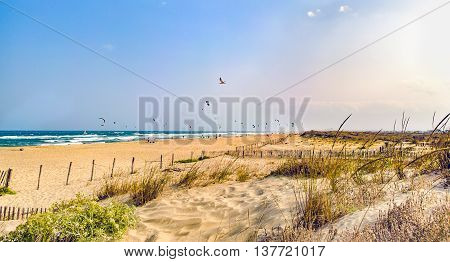 Sea waves on beautiful beach, Mediterranean Sea, France