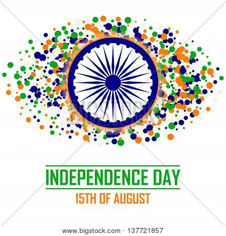 India Independence Day background in traditional colors - saffron green navy blue.