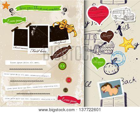 Vintage scrapbook elements set 3. Vector illustration EPS10.