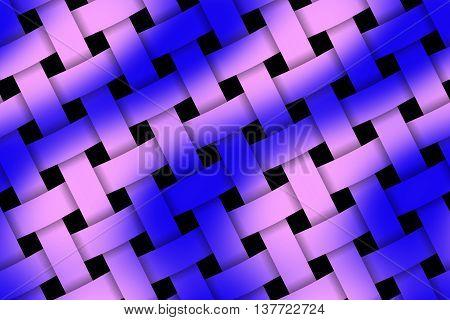 Illustration of dark blue and pink weaved pattern