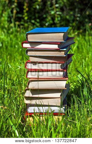 Pile of the Books on the Grass