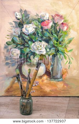 Artist Brush And Painting, Impressionism Oil Painting, Floral Still Life