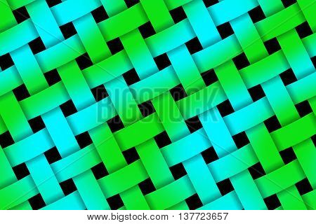 Illustration of green and blue weaved pattern