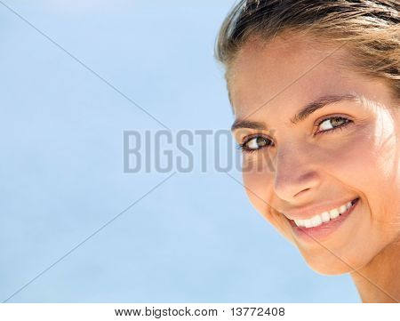 Image of gorgeous face of woman with charming smile