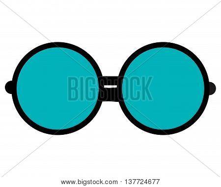 simple flat design round frame glasses icon vector illustration