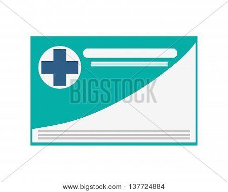 simple flat design medical insurance card icon vector illustration