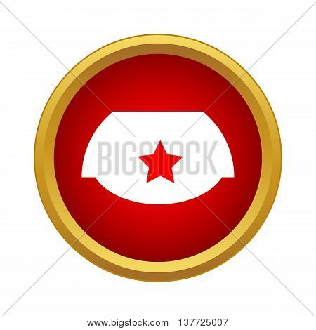 Cap with red star icon in simple style on a white background