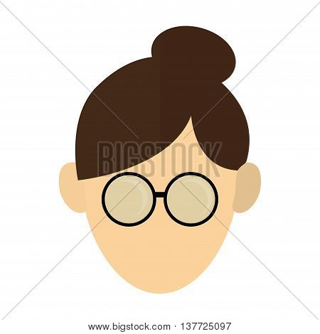 simple flat design woman with hair up and glasses icon vector illustration