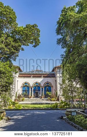 Vizcaya Floridas grandest residence once belongs to millionaire industrialist James Deering is in downtown Miami Florida USA.