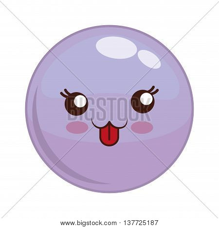 Cartoon design represented by kawaii expression face icon. Colorfull and isolated illustration. Purple sphere