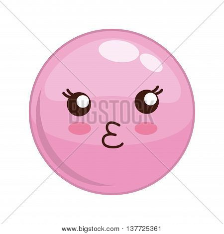 Cartoon design represented by kawaii expression face icon. Colorfull and isolated illustration. Pink sphere
