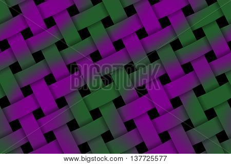 Illustration of purple and dark green weaved pattern