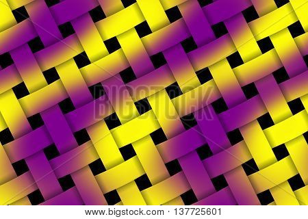 Illustration of purple and yellow weaved pattern