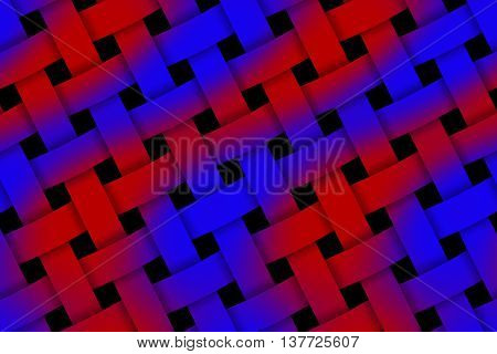 Illustration of red and dark blue weaved pattern