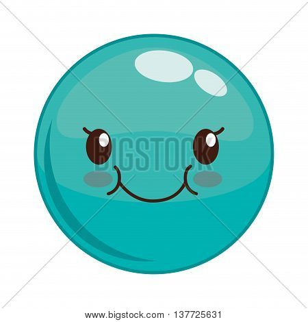 Cartoon design represented by kawaii expression face icon. Colorfull and isolated illustration. Blue sphere