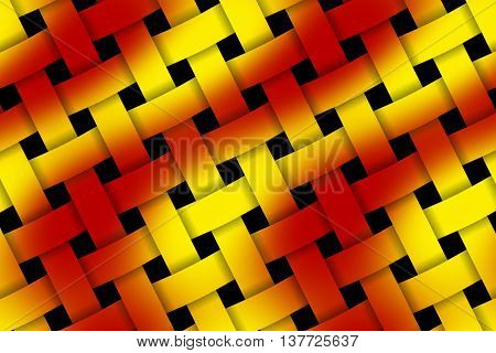 Illustration of red and yellow weaved pattern