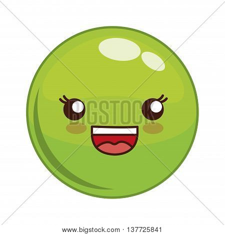 Cartoon design represented by kawaii expression face icon. Colorfull and isolated illustration. Green Sphere