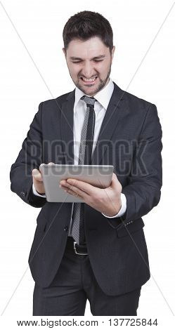 Satisfied Businessman Holding Tablet