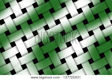 Illustration of dark green and white weaved pattern