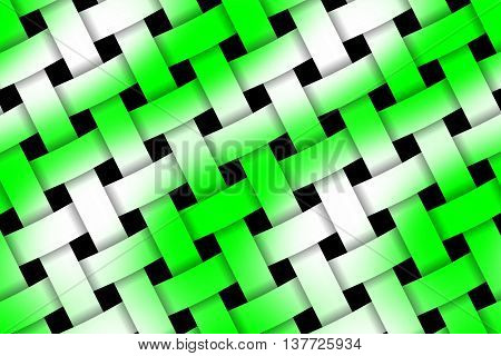 Illustration of green and white weaved pattern