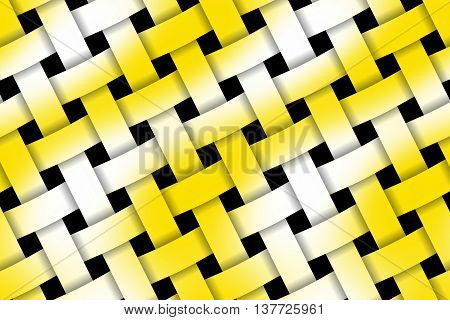 Illustration of yellow and white weaved pattern