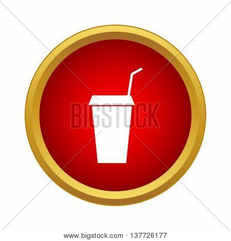 Paper cup with lid and straw icon in simple style on a white background