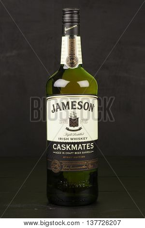 READING MOLDOVA APRIL 8 2016. One bottle of Jameson Whiskey Triple Distilled 40% 1 Liter on black background. Blended whiskey is imported from Ireland