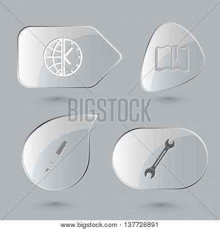 4 images: globe and clock, book, ink pen, spanner. Business set. Glass buttons on gray background. Vector icons.