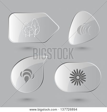 4 images: trees, fish, bee, camomile. Nature set. Glass buttons on gray background. Vector icons.