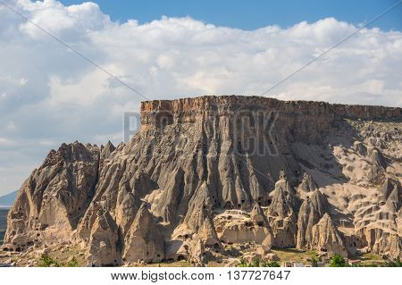 View on stone formations in Cappadocia Central AnatoliaTurkey