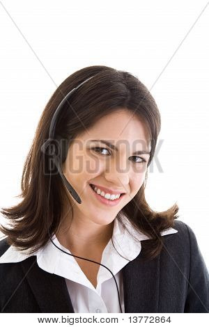 Happy Smiling Woman Suit Headset Isolated White
