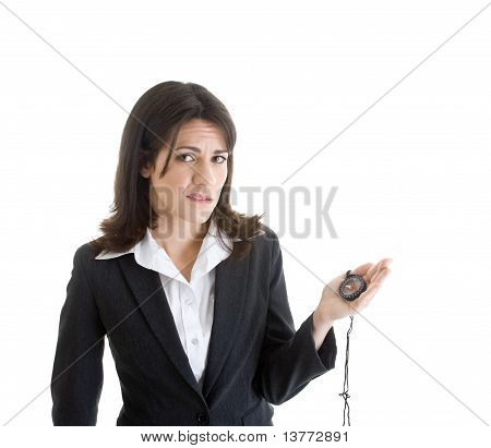 Worried Woman Suite Holding Compass Isolated White