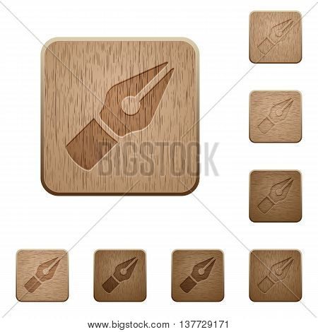 Set of carved wooden Vector pen buttons in 8 variations.