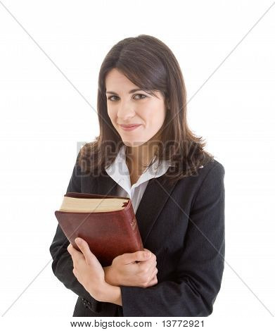 Smiling Caucasian Woman Holding Bible Closely Isolated White Bac