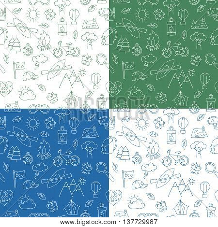 Seamless pattern of hand drawn doodle ecotourism design elements. Mountains binocular baseball cap bicycle, magnifying glass diving snorkel mask, canoe, bonfire air balloon. Vector illustration.