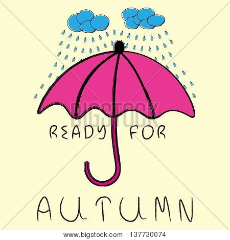 Rainy clouds with falling raindrops in blue colors and pink umbrella on white background. Ready for autumn hand drawn text.