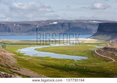 View At Mountain Landscape In Iceland