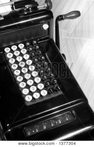 Vintage Adding Machine And Ledger Paper (Black And White)