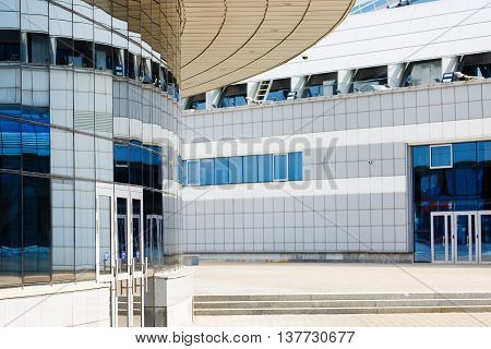 MINSK BELARUS - MAY 03 2016: Minsk-Arena - a sports and entertainment complex in the city of Minsk Belarus. Close-up of modern industrial buildings.