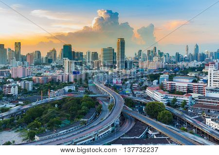 City downtown with highway intersection with beautiful sky background