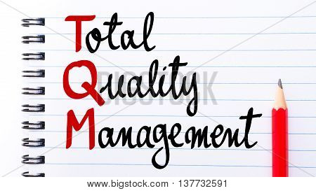 Tqm Total Quality Management Written On Notebook Page