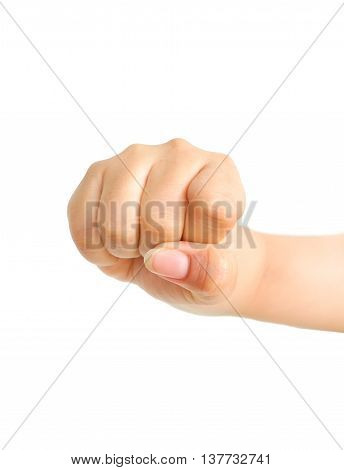 Closeup of female hand zero number or hammer sign. Isolated on white background.