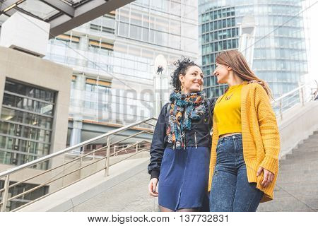 Lesbian Couple Walking In Berlin
