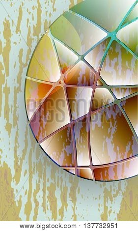 ellipse glass and colored stripes brown spots abstract background vector illustration