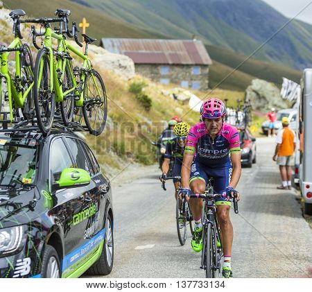 Col de la Croix de Fer France - 25 July 2015:The cyclist Rafael Valls Ferri of Lampre-Merida Team climbing to the Col de la Croix de Fer in Alps during the stage 20 of Le Tour de France 2015.