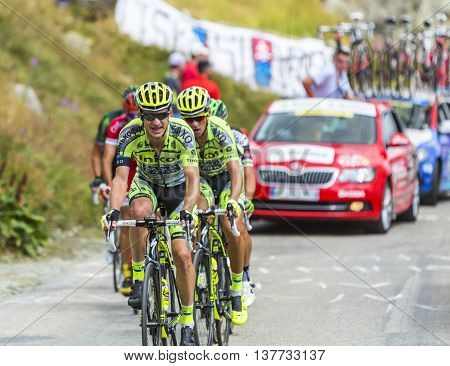 Col de la Croix de Fer France - 25 July 2015:The Australian cyclist Michael Rogers of Tinkoff-Saxo Team climbing to the Col de la Croix de Fer in Alps during the stage 20 of Le Tour de France 2015.